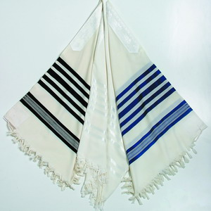 Prima Wool Tallit Gadol - Black, White or Blue Stripes