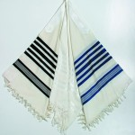 Traditional Tallit - Wool - White, blue or black stripes