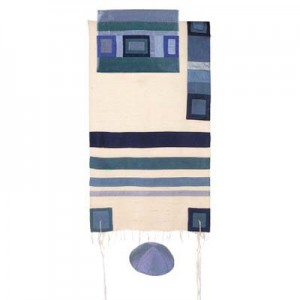 Yair Emanuel Tallit - Silk with blue stripes