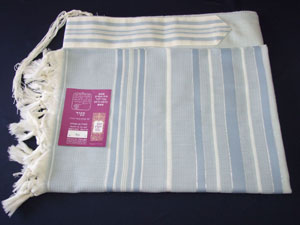 Sapir Tallit - Blue and Azure Stripes