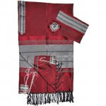 Red Tallit with silver bands