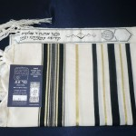 Tallit with black and gold striping
